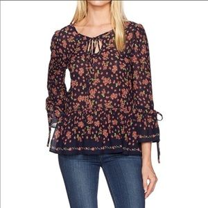 NWT Max Studio Navy Blue Bell Sleeve Floral Top S